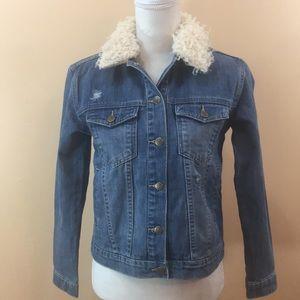 Jackets & Blazers - Embroidered denim jacket women's sz s new